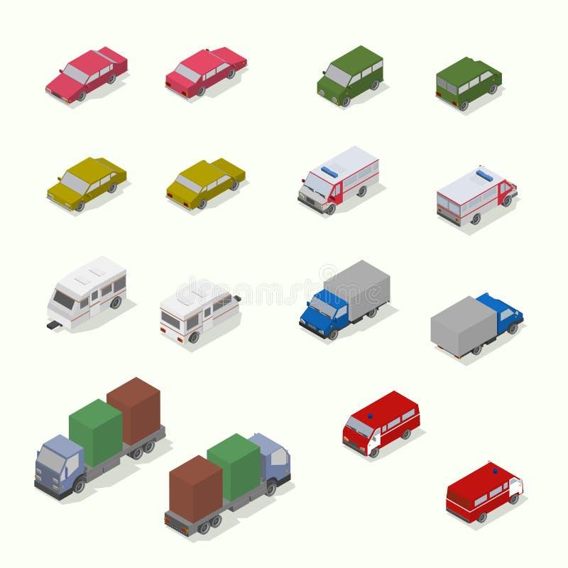 Grupo isométrico do ícone do transporte Plano simples ilustração stock