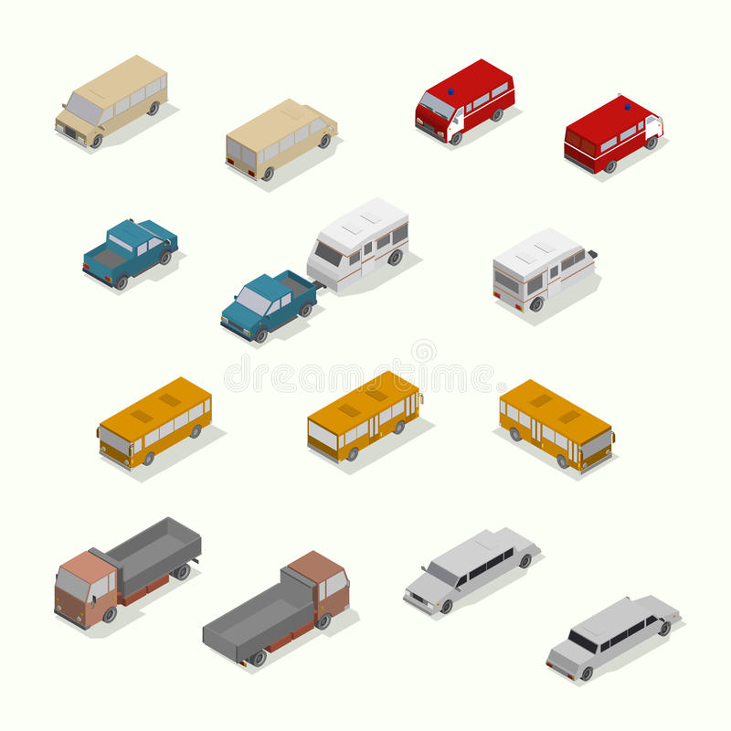 Grupo isométrico do ícone do transporte Plano simples ilustração do vetor