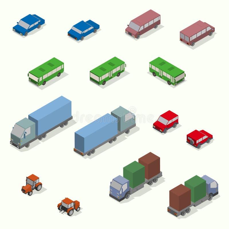 Grupo isométrico do ícone do transporte Plano simples ilustração royalty free