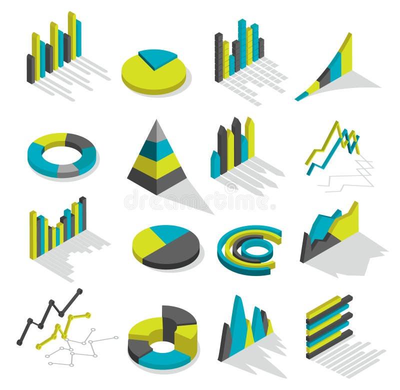 Grupo isométrico do ícone dos gráficos ilustração royalty free