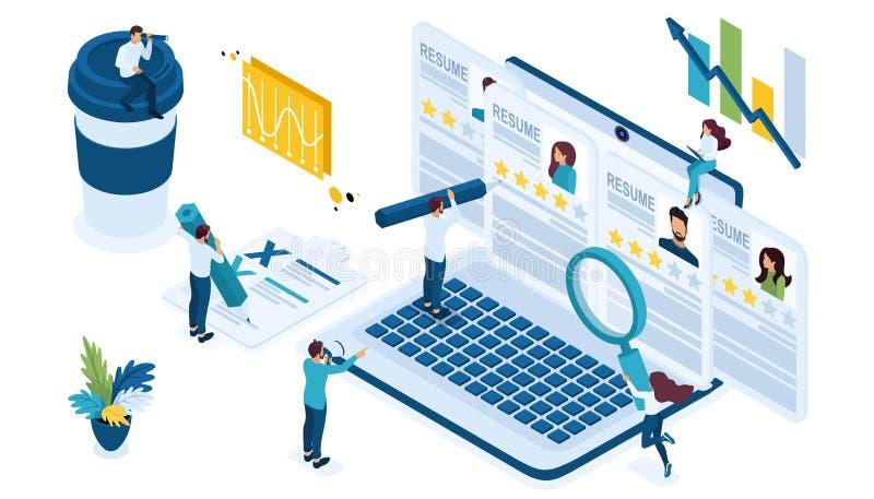 Grupo isométrico do ícone para recrutar o gerente da hora que olha sumário para candidatos no Internet na empresa do portátil na  ilustração stock