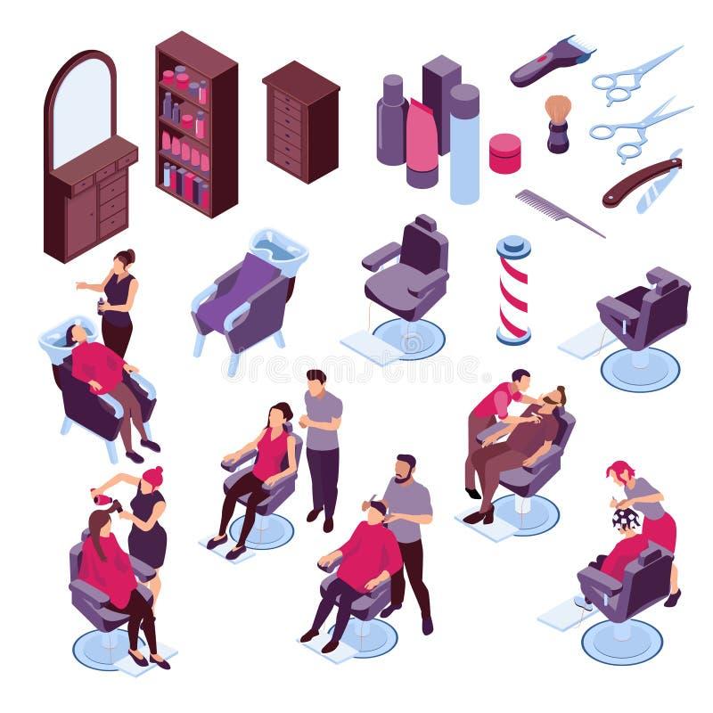 Grupo isométrico do barbeiro ilustração do vetor