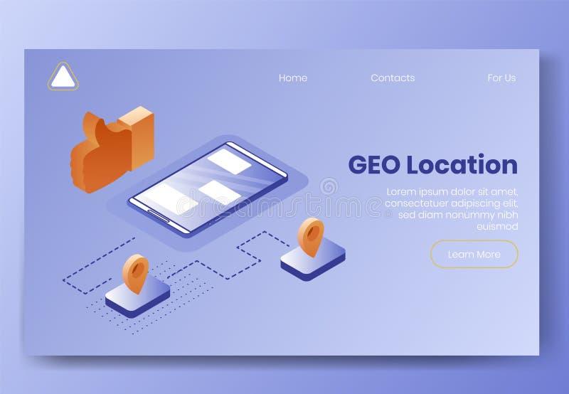 Grupo isométrico do conceito de projeto de Digitas de ícones do app 3d do lugar de GEO Isometricsocial que introduz no mercado o  ilustração stock