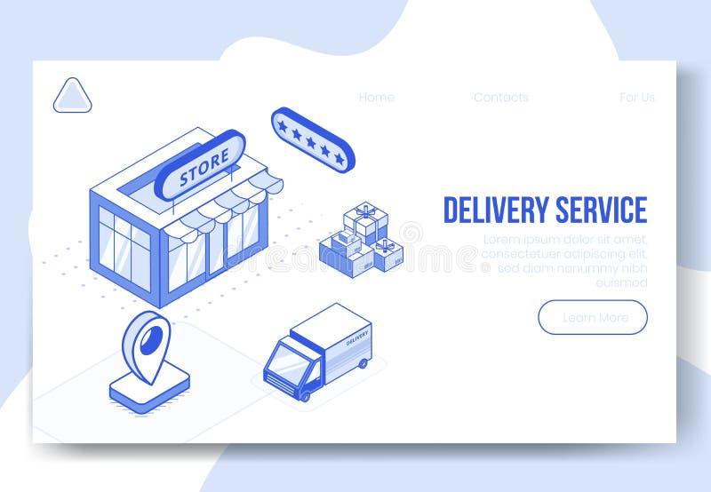 Grupo isométrico do conceito de projeto de Digitas de ícones do app 3d do serviço de entrega Símbolo-loja isométrica da fina ilustração royalty free