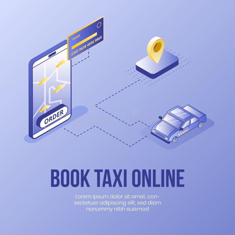 Grupo isométrico do conceito de projeto de Digitas de ícones de registro do app 3d do serviço do táxi em linha S?mbolo-banco isom ilustração royalty free