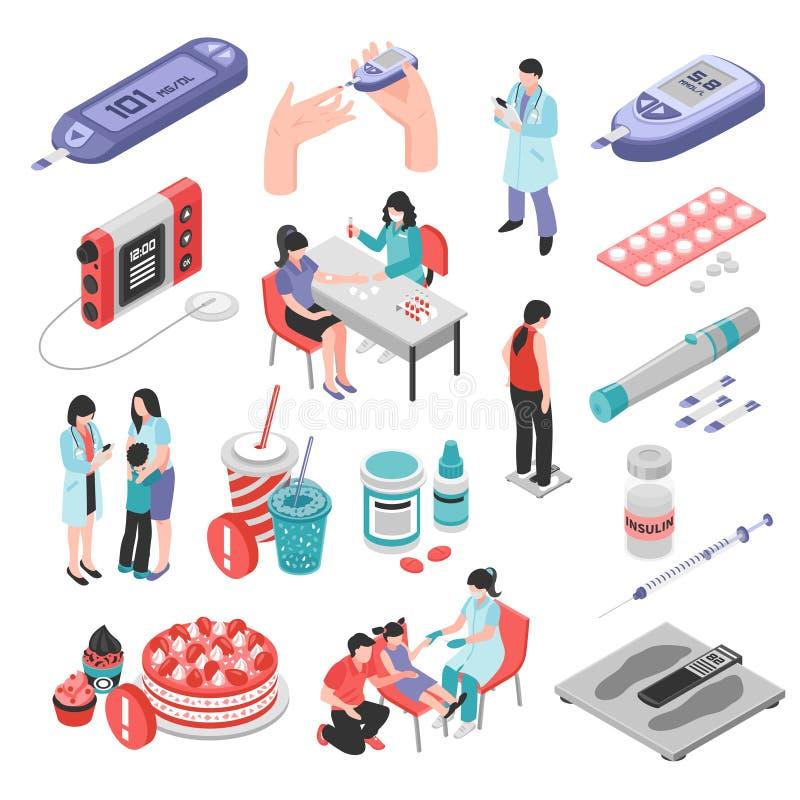 Grupo isométrico do tratamento do diabetes ilustração stock