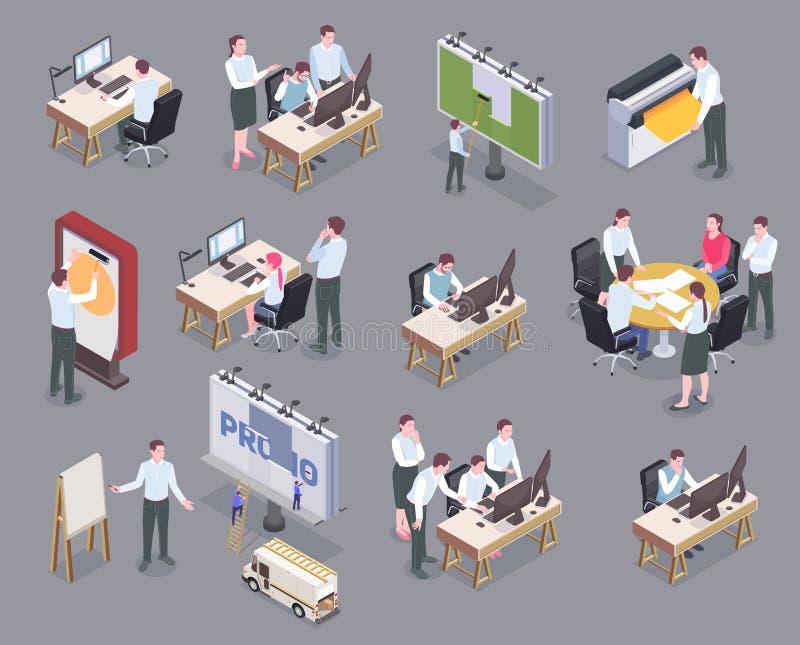 Grupo isométrico dos ícones da agência de propaganda ilustração stock