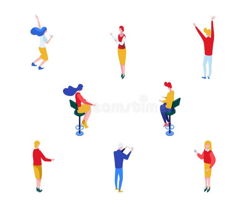 Grupo isométrico dos caráteres do vetor dos jogadores do casino Homem e jogadores fêmeas, crouoier no uniforme, vencedores do jac ilustração stock