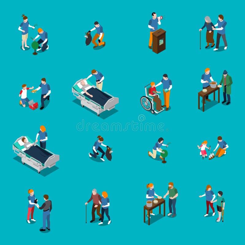 Grupo isométrico dos povos da caridade voluntária ilustração do vetor