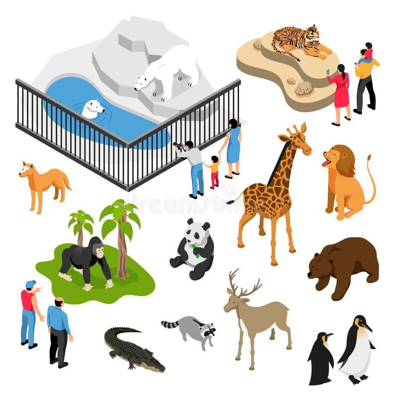 Grupo isométrico dos povos do jardim zoológico ilustração royalty free