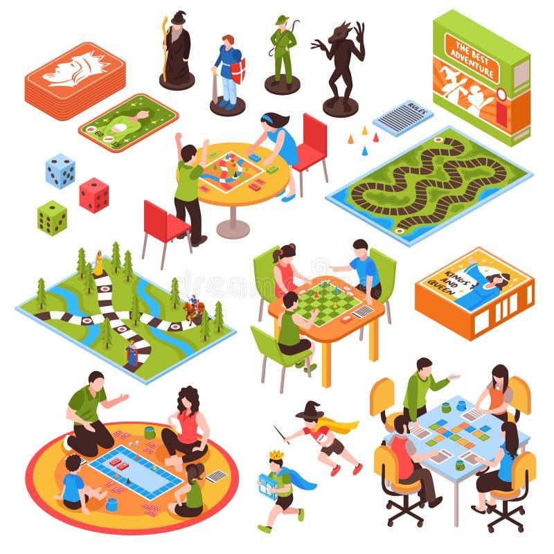 Grupo isométrico dos povos dos jogos de mesa ilustração stock