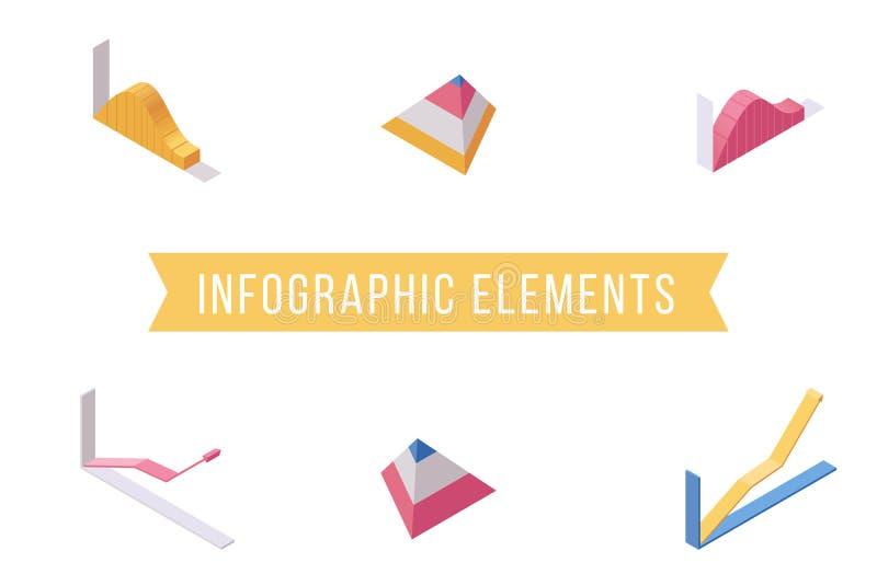 Grupo isométrico liso das ilustrações dos elementos de Infographic Cartas econômicas, linha crescente e ícones do vetor do diagra ilustração stock