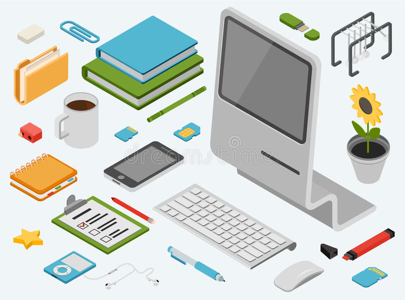 Grupo isométrico liso do ícone do vetor do conceito da informática 3d ilustração stock