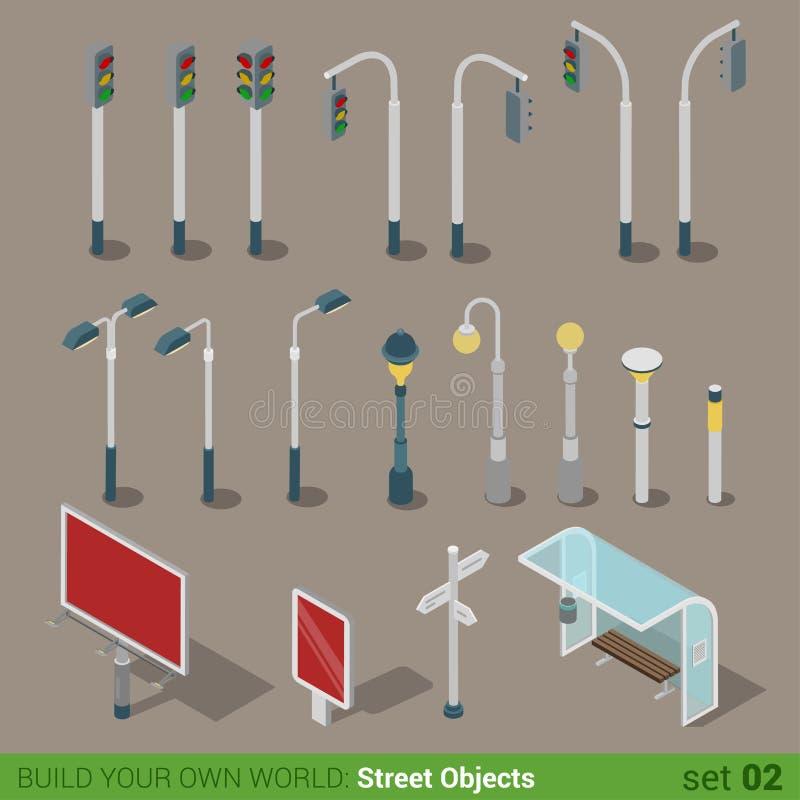 Grupo isométrico liso do ícone dos objetos da rua 3d ilustração do vetor