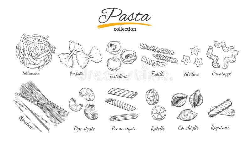 Grupo italiano da massa Tipos diferentes de massa Ilustração desenhada mão do vetor Estilo do esboço ilustração royalty free