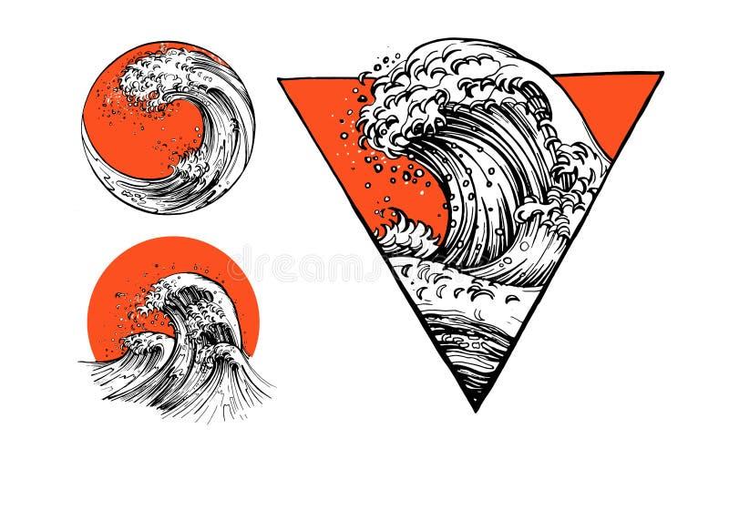 Grupo japonês da tatuagem com ondas de água ilustração royalty free
