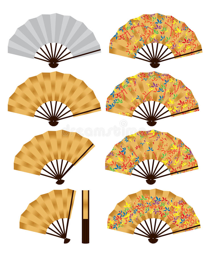 Grupo japonês do bambu do fã ilustração do vetor