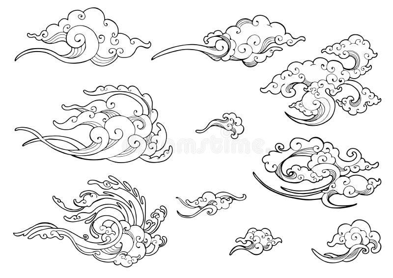 Grupo japonês ou chinês oriental da coleção do desenho da garatuja do ornamento da nuvem ilustração do vetor