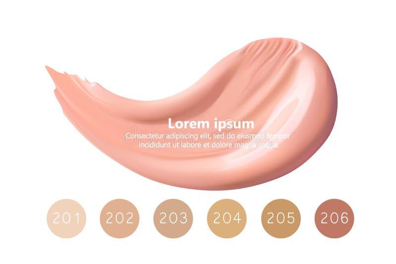 Grupo líquido cosmético do creme da fundação ou do caramelo em cursos diferentes da mancha do borrão da cor Compõe as manchas iso ilustração do vetor