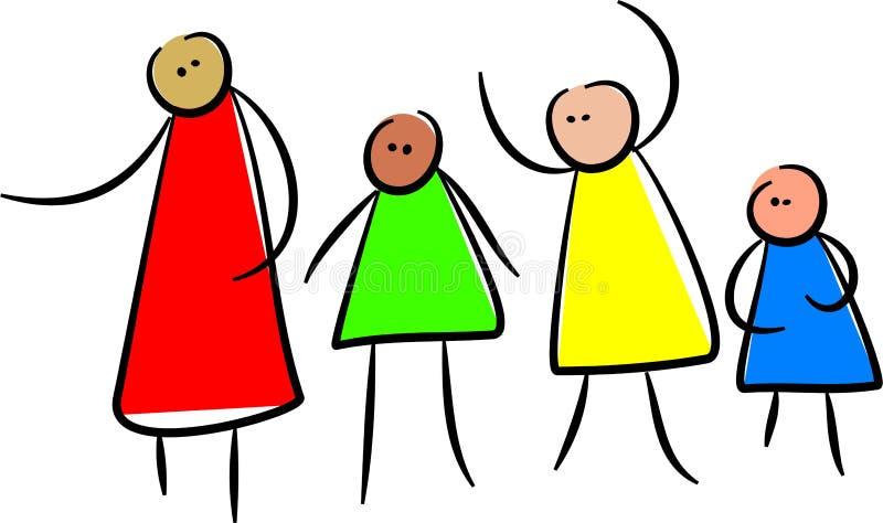 Grupo lindo y diverso de amigos del palillo stock de ilustración