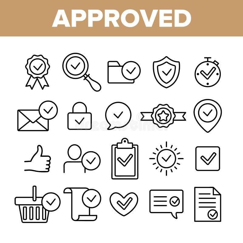 Grupo linear aprovado e certificado dos ícones do vetor ilustração do vetor