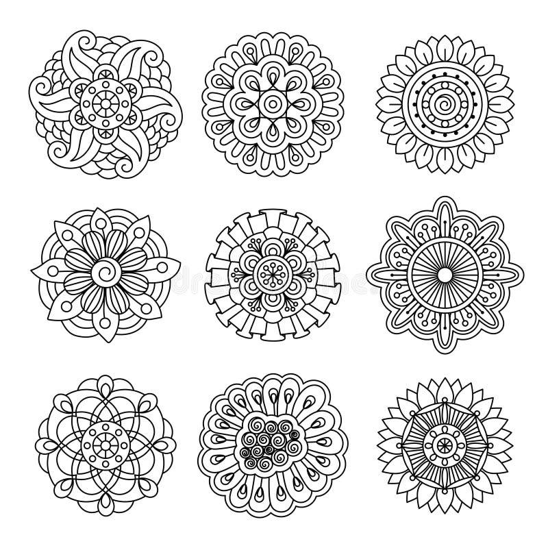 Grupo linear da flor da garatuja ilustração stock