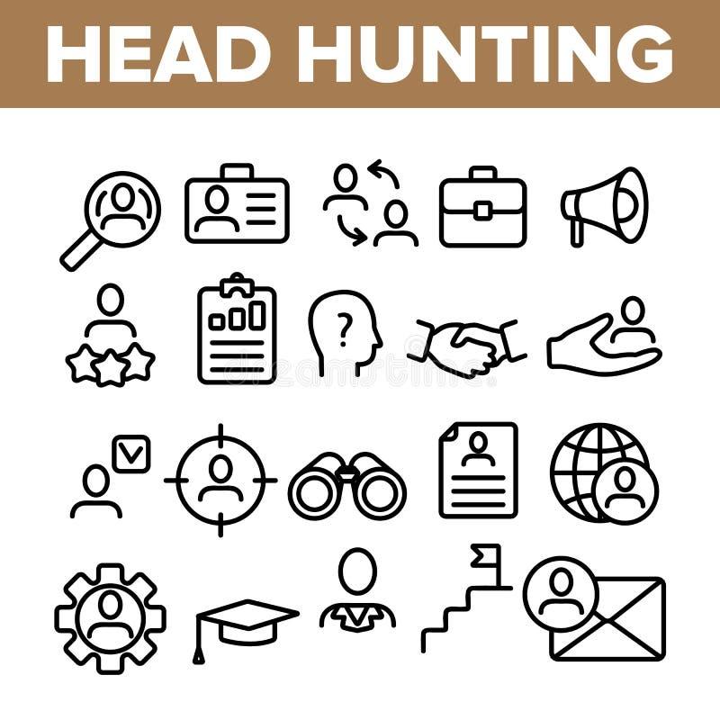 Grupo linear de caça principal dos ícones do vetor do serviço ilustração royalty free