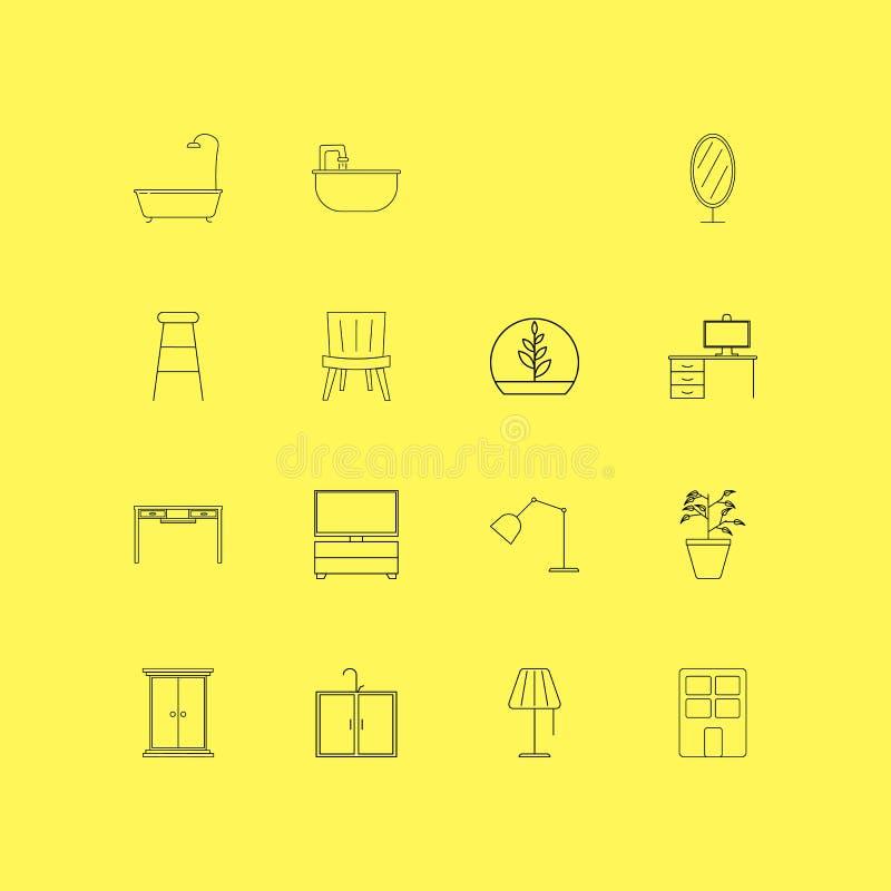 Grupo linear do ícone da mobília Ícones simples do esboço ilustração stock