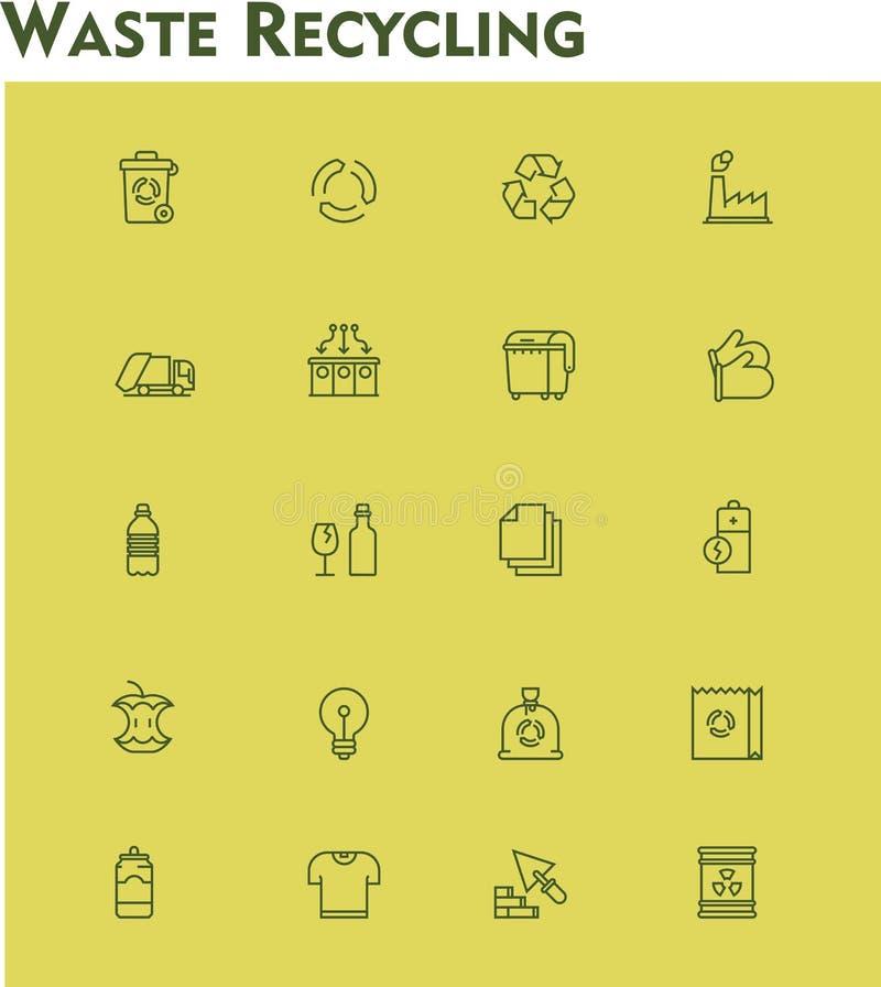 Grupo linear do ícone da reciclagem de resíduos ilustração stock
