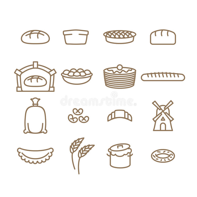 Grupo linear do ícone do pão baking Produtos da padaria Queque e pão ilustração stock