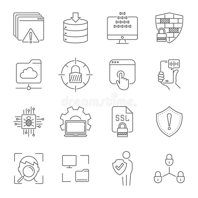 Grupo linear dos ícones do Internet Ícone universal do Internet a usar-se na Web e em UI móvel Sinal dos ?cones do Internet Curso ilustração stock
