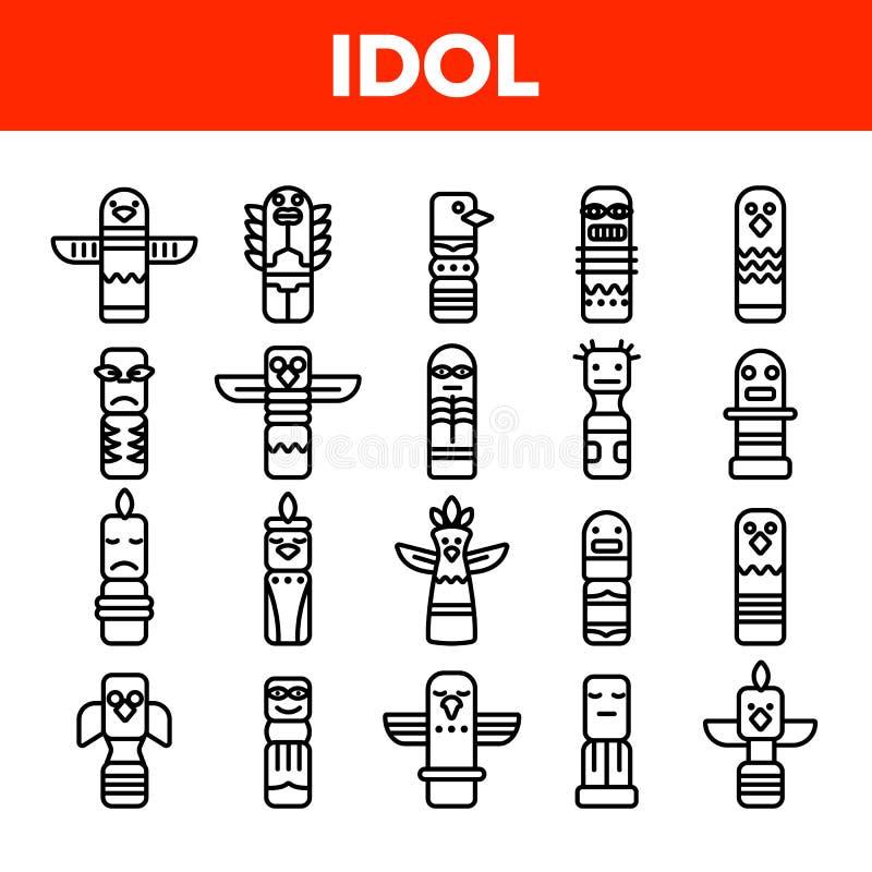 Grupo linear dos ícones do vetor antigo tribal dos ídolos ilustração royalty free
