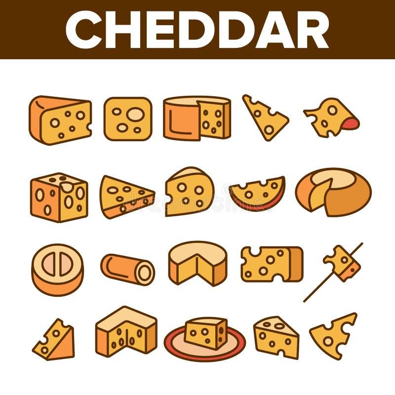Grupo linear dos ícones do vetor do queijo cheddar ilustração royalty free