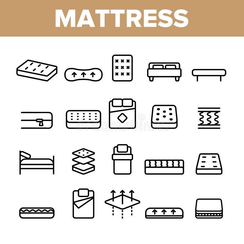 Grupo linear dos tipos do colchão e dos ícones do vetor material ilustração do vetor