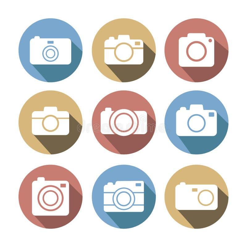 Grupo liso colorido do ícone do estilo da câmera da foto ilustração do vetor