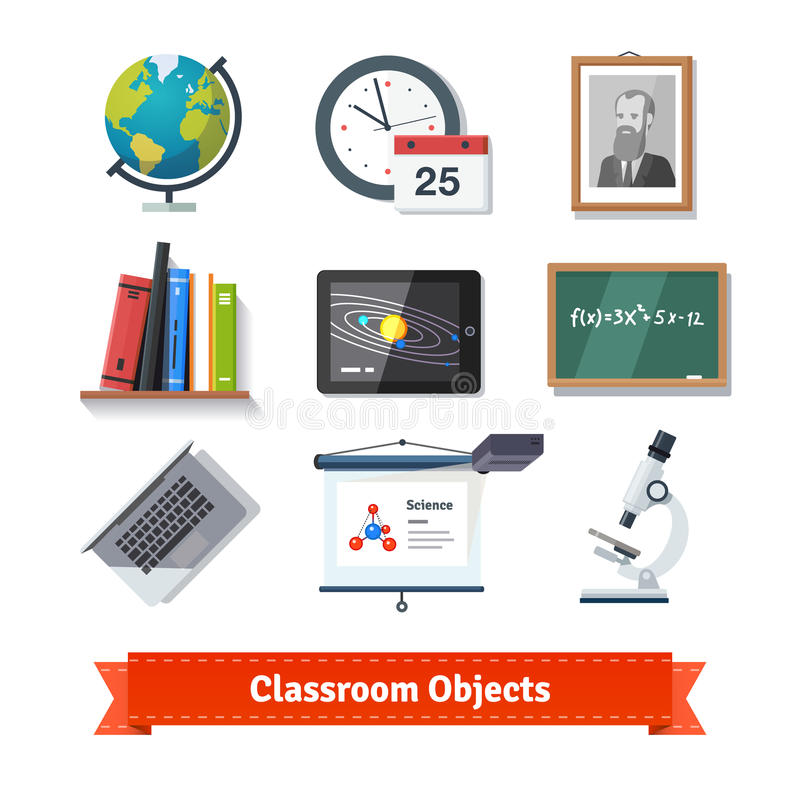 Grupo liso colorido do ícone dos objetos da sala de aula ilustração do vetor