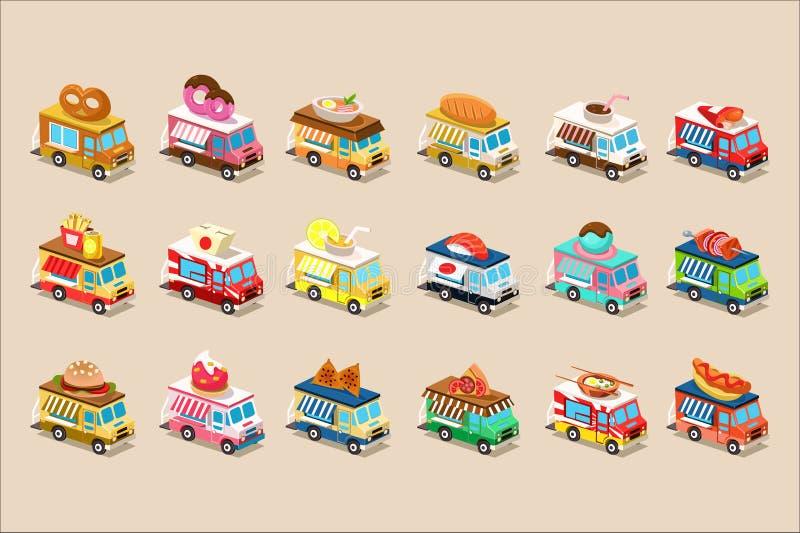 Grupo liso colorido do vetor de caminhões isométricos do alimento Camionetes com gelado, filhós, hamburguer, pretzel, pizza, cach ilustração royalty free