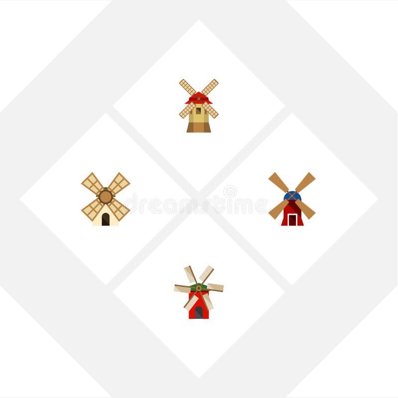 Grupo liso da alternativa do ícone de hélice, de moinho de vento, de energias eólicas e de outros objetos do vetor Igualmente inc ilustração stock