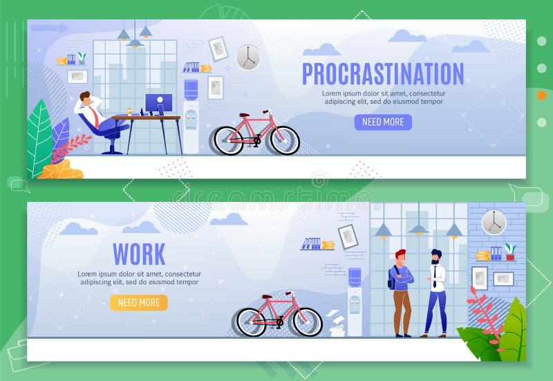 Grupo liso da bandeira da metáfora da procrastinação e do trabalho ilustração royalty free