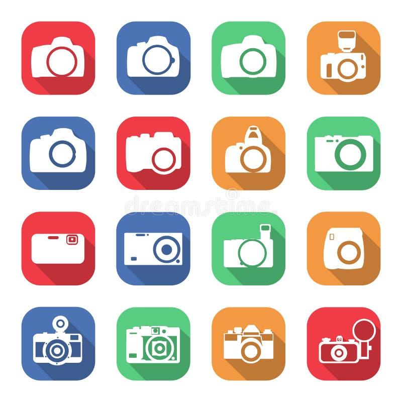 Grupo liso da câmera do ícone com sombras para seu projeto ilustração royalty free
