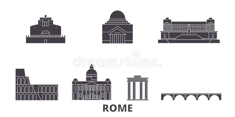 Grupo liso da skyline do curso da cidade de Itália, Roma Ilustração do vetor da cidade do preto da cidade de Itália, Roma, símbol ilustração do vetor