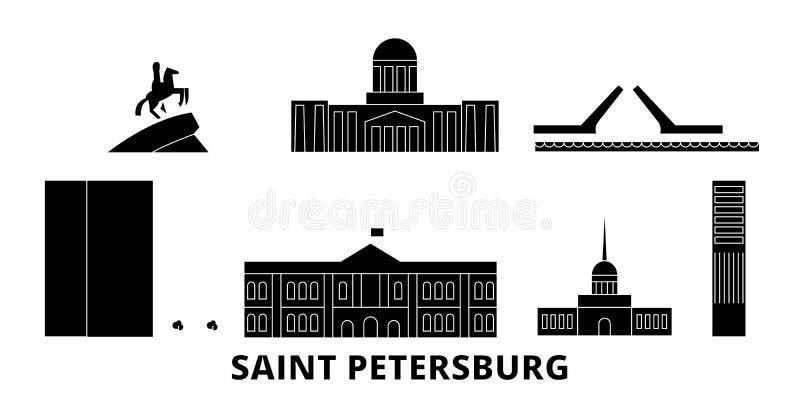 Grupo liso da skyline do curso da cidade de Rússia, St Petersburg Ilustração do vetor da cidade do preto da cidade de Rússia, St  ilustração royalty free