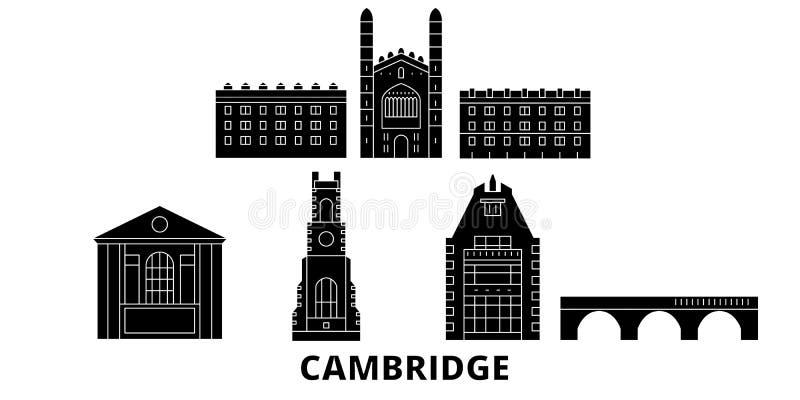 Grupo liso da skyline do curso de Reino Unido, Cambridge Ilustração do vetor da cidade do preto de Reino Unido, Cambridge, símbol ilustração do vetor