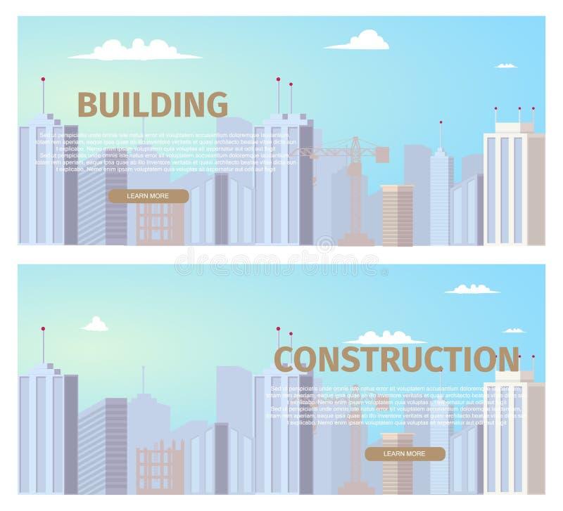 Grupo liso das bandeiras da Web do vetor da indústria da construção ilustração royalty free