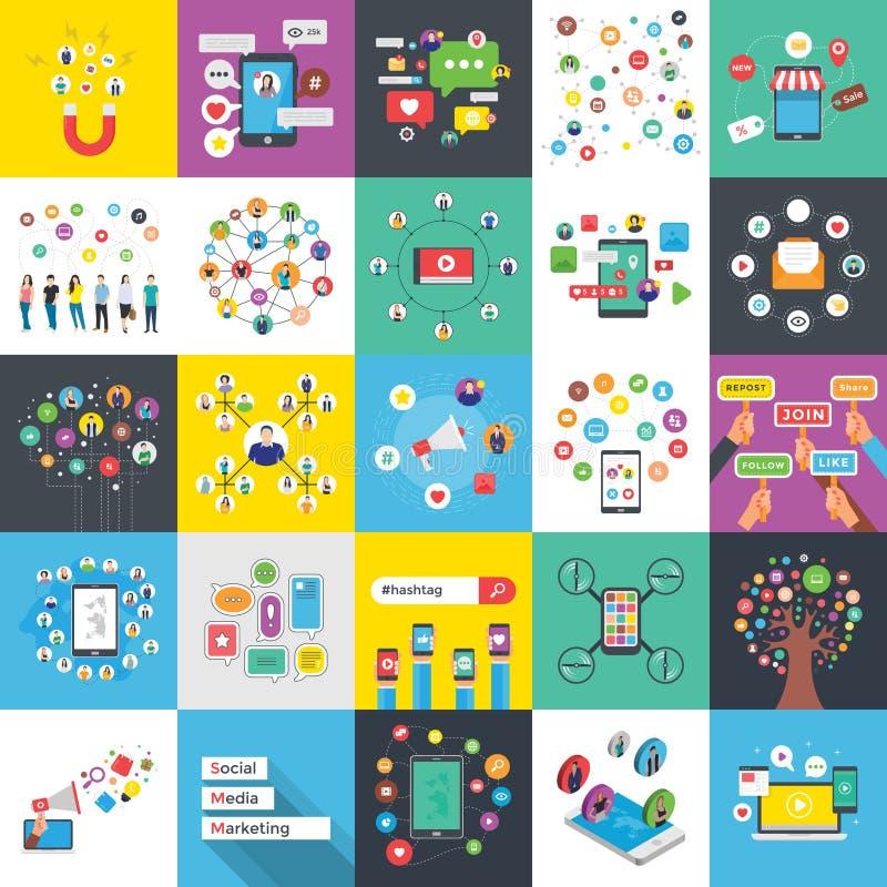 Grupo liso das ilustrações dos trabalhos em rede sociais dos meios ilustração do vetor