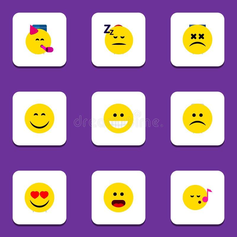 Grupo liso de Emoji do ícone de objetos do descanto, os tristes, os adormecidos e o outro do vetor Igualmente inclui o Emoticon,  ilustração stock