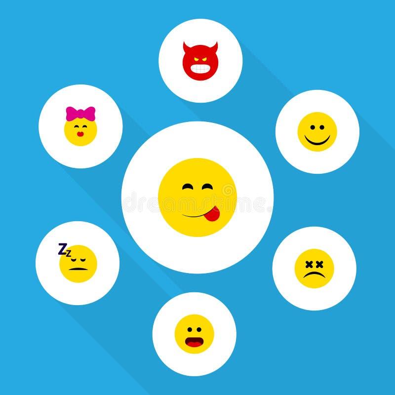 Grupo liso de Emoji do ícone de objetos vesgos da cara, da maravilha, amuar e o outro do vetor Igualmente inclui o sorriso, sabor ilustração royalty free