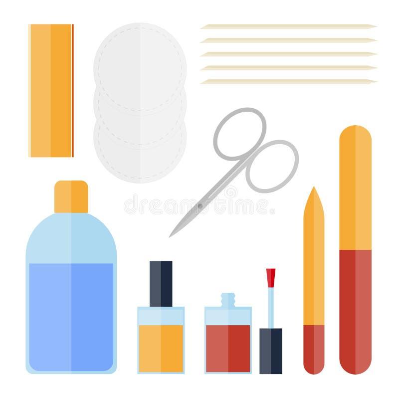 Grupo liso de equipamento do tratamento de mãos ilustração stock