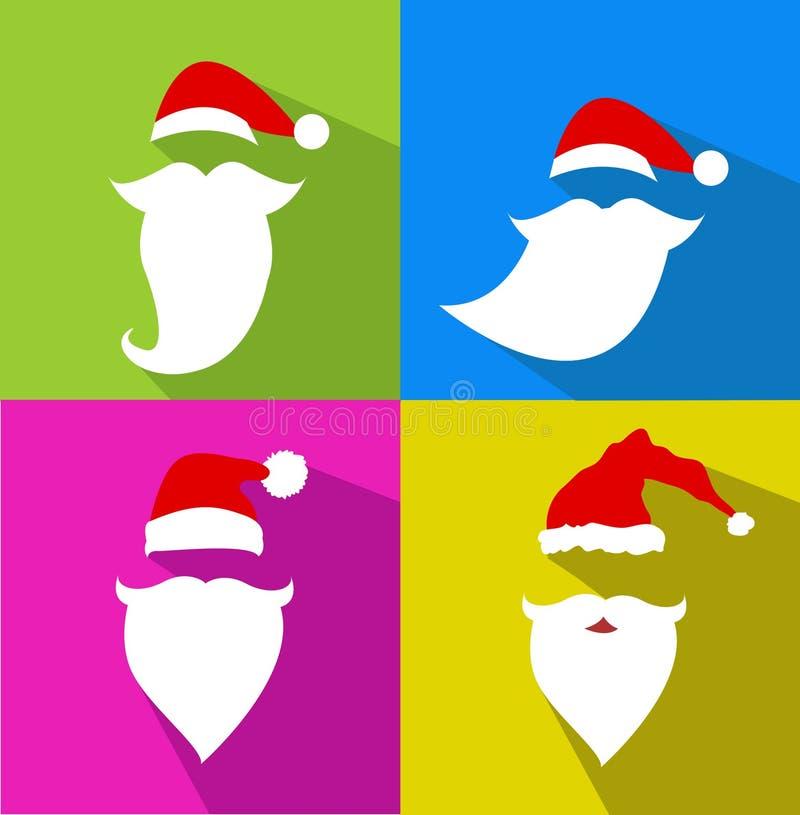Grupo liso de Santa Claus Face do vetor do projeto ilustração stock