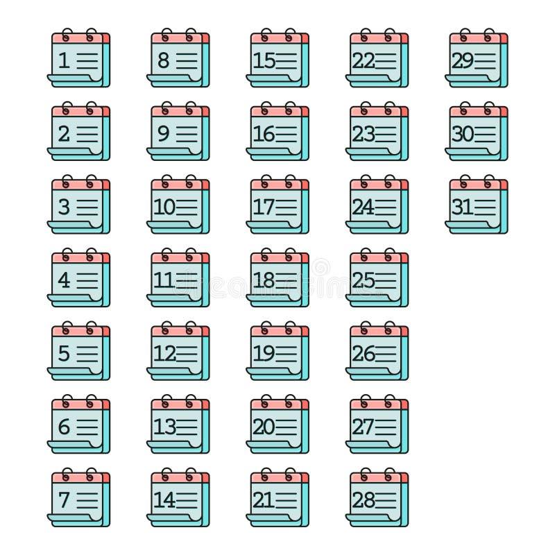 Grupo liso do ícone do calendário Grupo colorido do ícone do calendário isolado no fundo branco ilustração do vetor